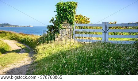 Closed Portal With Seascape. View On The Fort La Latte In Brittany In France