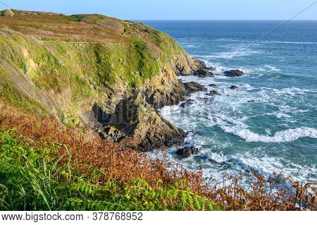 Seascapee Of The Saint-cast Cape. The Savage Coast Of North Brittany In France