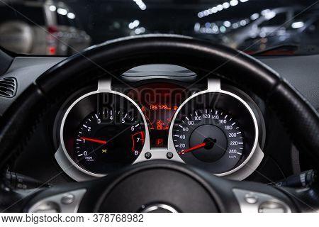 Novosibirsk/ Russia - April 28  2020: Nissan Juke,  Sign And Symbol On Car Dashboard. Car Speedomete