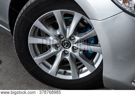 Novosibirsk/ Russia - June 10 2020: Mazda 6,  Car Wheel With Alloy Wheel And New Rubber On A Car Clo