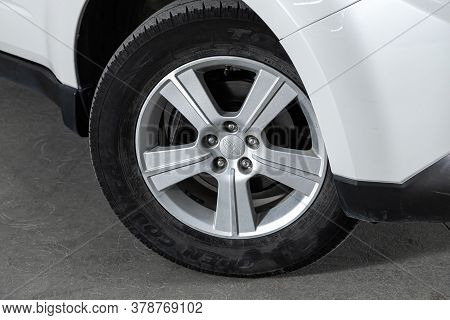 Novosibirsk/ Russia - June 23 2020: Subaru Forester,  Car Wheel With Alloy Wheel And New Rubber On A