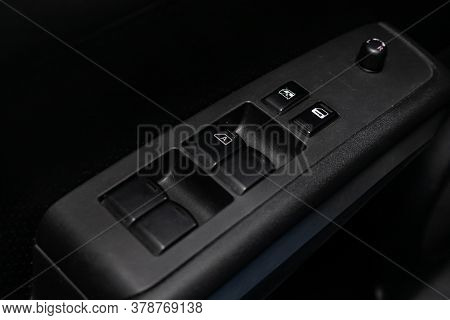 Novosibirsk/ Russia - April 28  2020: Nissan X-trail,  Interior Of Modern Car. Side Door Buttons: Wi
