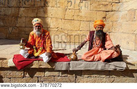 Sadhu people in old town Jaisalmer. Rajastan, feb 2013 India