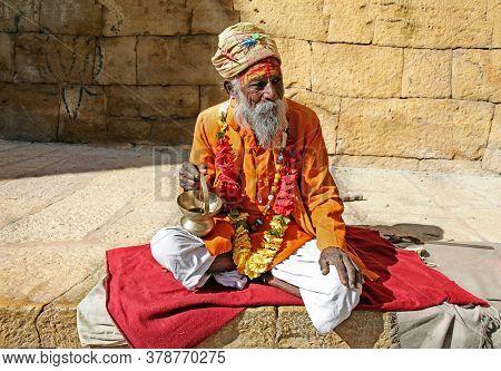 Sadhu people in old town Jaisalmer. Rajastan feb 2013 India