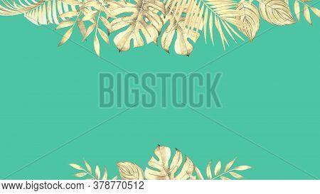 Decorative Floral Design With Watercolor Tropical Plants And Leaves On Teal Blue Background.