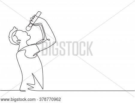 Single Continuous Line Drawing Of Young Happy Male Rocker Singer Holding Microphone And Singing On M
