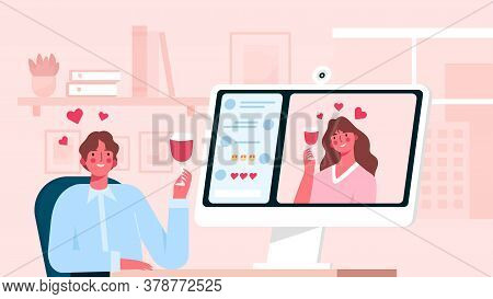 Virtual Relationships. Online Date During Quarantine And Self-isolation, Woman Talking And Drinking