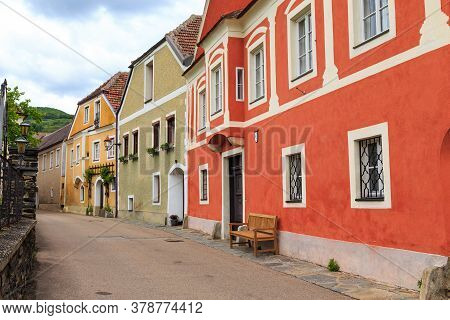 Weisenkirchen, Austria - May 13, 2019: This Is A Street With Neat Old Historic Houses In A Small Aus