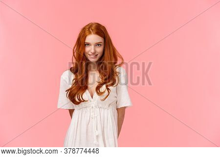 Sensual And Cute, Coquettish Redhead Woman With Seductive Gaze, Shy Ask Daring Question, Smiling Wai