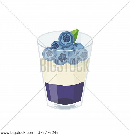 Dessert With Blueberries In A Glass. Blueberry Jelly, Whipped Cream And Berries. Vector Illustration