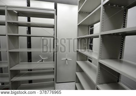 Empty Archive Storage Room, Archive Concept, Empty Archive