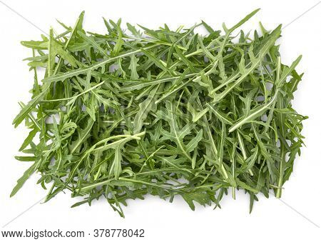 Arugula organic rocket salad green leaves. Food herbs for healthy eating diet ration with vitamins, isolated on white background.
