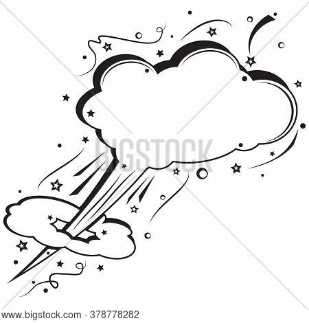 Retro Empty Comic Speech Bubble. Boom Pop Art Explosion. Fast Flying White Cloud For Messages. Black