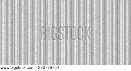 Silver White Wavy Iron Wall Pattern. Fluted Metal Fencing Backdrop. Corrugated Metal Texture. Crimp
