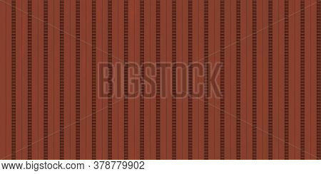 Red Ribbed Metallic Surface. Wavy Iron Wall Pattern. Fluted Metal Fencing Backdrop. Corrugated Metal