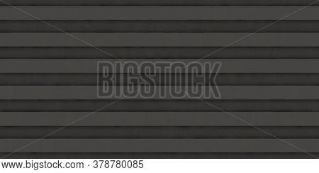 Dark Black Ribbed Metallic Surface. Wavy Iron Wall Pattern. Fluted Metal Fencing Backdrop. Corrugate