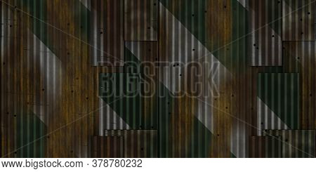 Green White Weathered Rust Ribbed Metallic Surface. Wavy Iron Wall Pattern. Fluted Metal Fencing Bac
