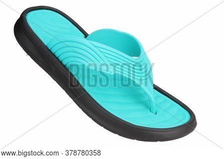Sky Blue Color Slipper Isolated On White Background, Rubber Slipper