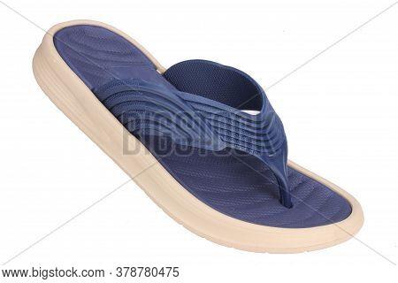 Blue Slipper Isolated On White Background, Bathroom Slippers