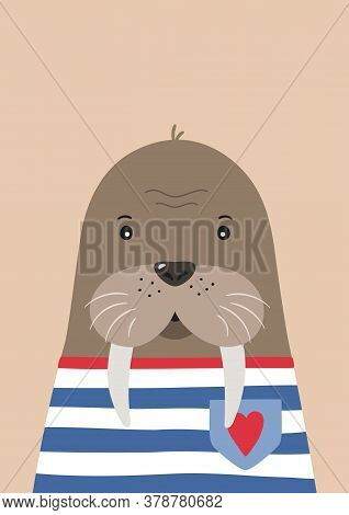 Cute Walrus Sailor. Poster For Baby Room. Childish Print For Nursery. Design Can Be Used For Kids Ap