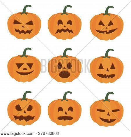 Pumpkin Halloween Holiday. Isolated Vector Sign Symbol. Set Of Halloween Pumpkins, Funny Faces. Autu