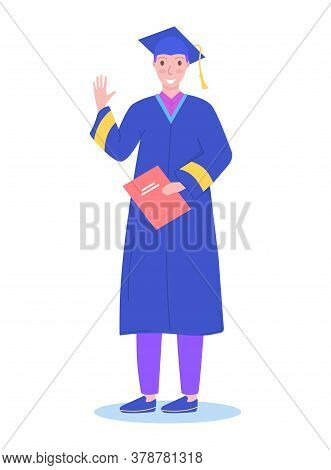 Black Man Character Complete Secondary School, Graduation Student Standing Get Diploma Isolated On W