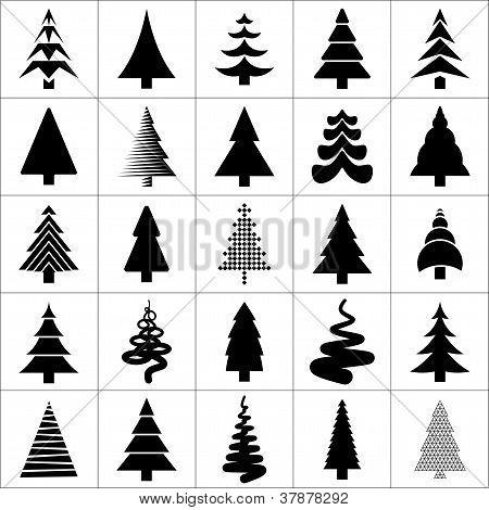 Christmas Tree Silhouette Design. Vector.