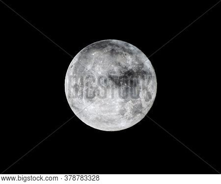 Detailed Image Of The Full Moon. Full Moon Against The Black Night Sky.