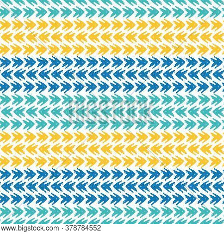 Vector Tribal Arrow Style Grunge Brush Seamless Pattern Background. Backdrop With Striped Rows Of Pa