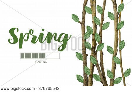 Spring. Tree Branches With Painted Leaves. Item For Decoration, Greeting Cards