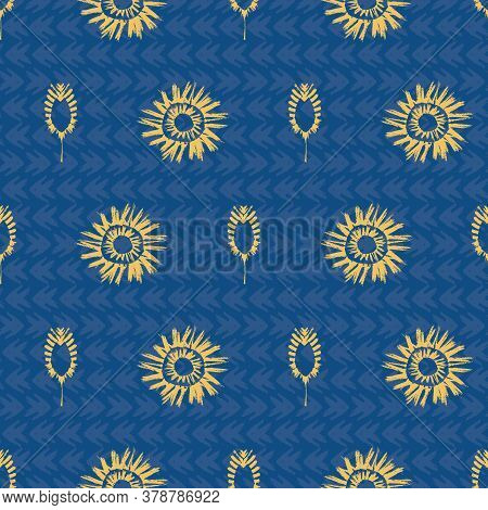 Vector Ethnic And Tribal Motifs Seamless Pattern Background. Gold And Blue Painterly Grunge Style Su