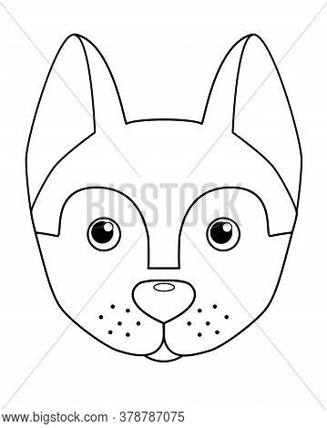 Husky Puppy Muzzle - Vector Linear Illustration For Coloring. Dog's Head - Cute Picture, For Childre