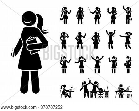 Stick Figure Business Woman Standing In Different Poses Design Vector Icon Set. Happy, Sad, Surprise