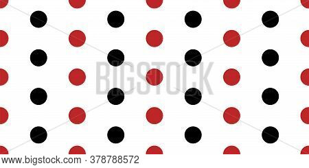 Regular Red And Black Polka Dots Seamless Vector Border. Simple Banner With White Background. Elegan