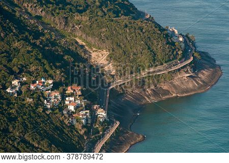 Aerial View Of Residential Neighborhood And Elevated Road On The Coast Of Rio De Janeiro, Brazil