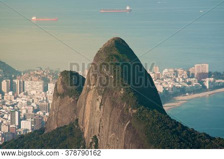 Two Brothers Mountain And Ipanema Beach Behind It In Rio De Janeiro, Brazil