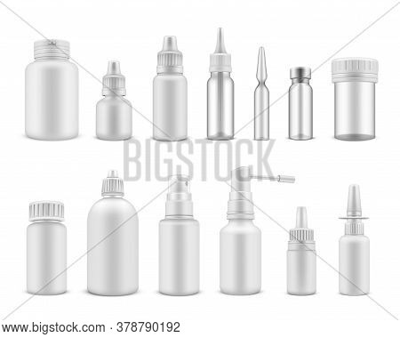 Medical Packaging White Realistic Mockups Set. Phial, Jar, Spray, Vial, Dropping Bottle, Flask.