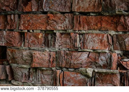 Red Weathered Crumbling Brick Wall Textured Horizontal Background