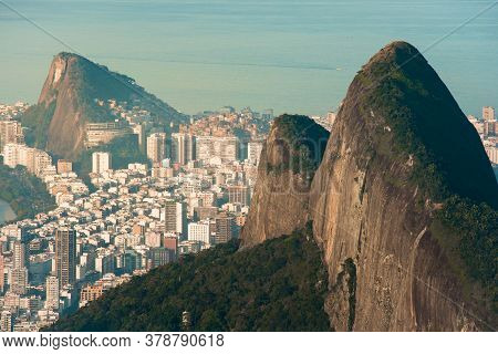 Two Brothers Mountain And Ipanema District Behind It In Rio De Janeiro, Brazil