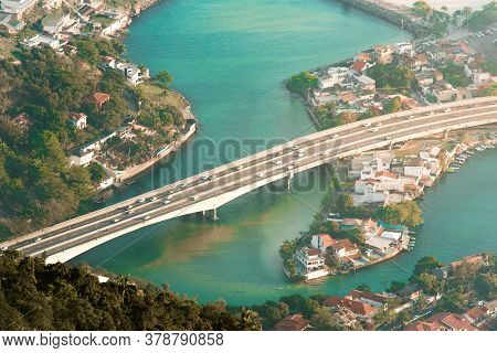 Aerial View Of The Bridge Crossing The Canal In Rio De Janeiro City
