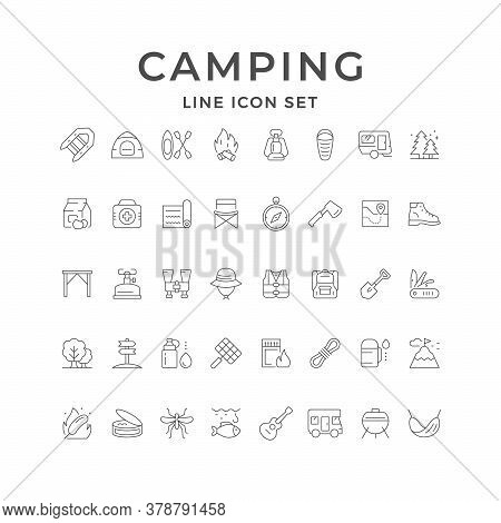 Set Line Icons Of Camping Isolated On White. Canned Goods, Camper Trailer, Tourist Lamp, Axe, Inflat