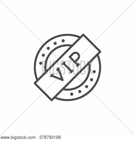 Vip Seal Line Outline Icon Isolated On White. Very Important Person, Royal Sign, Celebrity Symbol, S