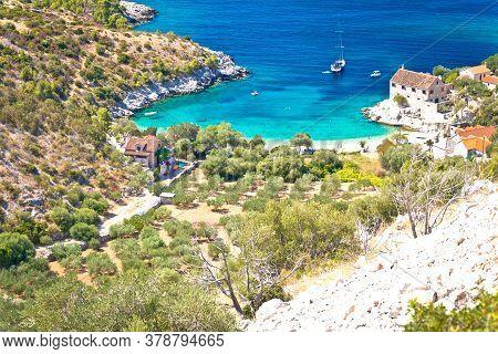 Idyllic Beach In Hidden Cove Of Dubovica On Hvar Island Aerial View, Dalmatia Archipelago Of Croatia