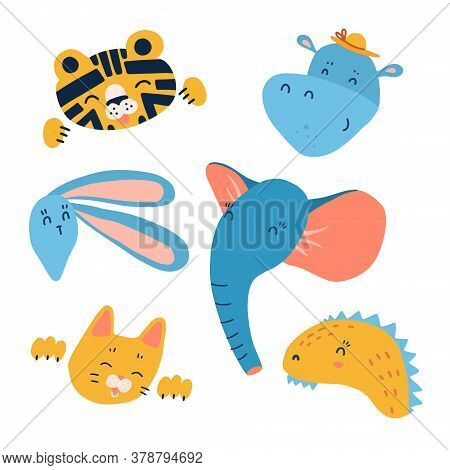 Cartoon Animal Heads Set. Modern Concept Of Flat Design For Kids Cards, Banners And Invitations. Han