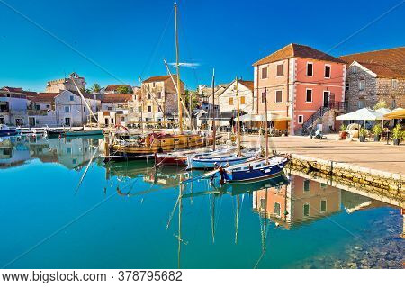 Town Of Vrboska On Hvar Island Waterfront View, Archipelago Of Dalmatia, Croatia