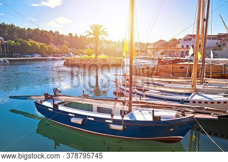 Town Of Vrboska On Hvar Island Waterfront Sunrise View, Archipelago Of Dalmatia, Croatia