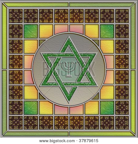 Stained Glass Panel With Star Of David And Menorah