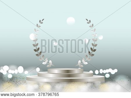 Vector Silver Laurel Wreath Frame Award And Stage Podium Isolated On Dark Background. Victory, Honor