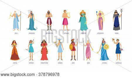 Greek Mythology Character Set - Cartoon God And Goddess Collection