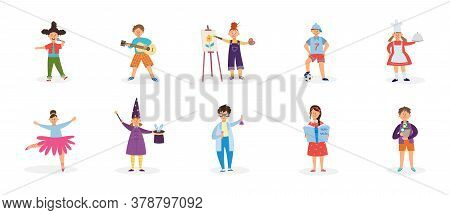 Childrens Creative Hobbies And Outside Interests Vector Illustration Isolated.